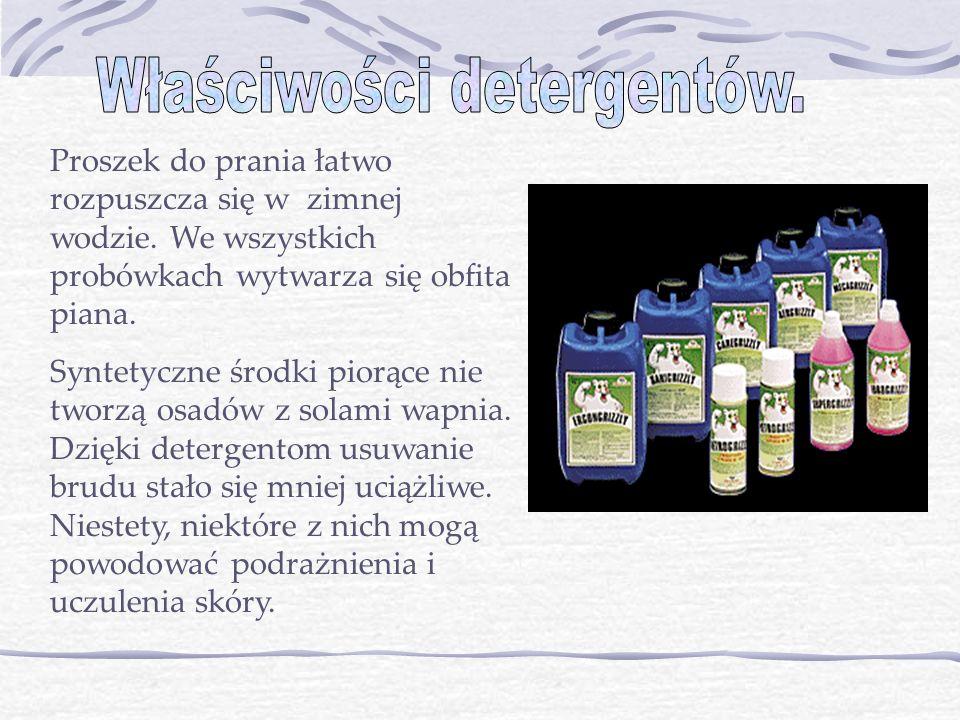Właściwości detergentów.