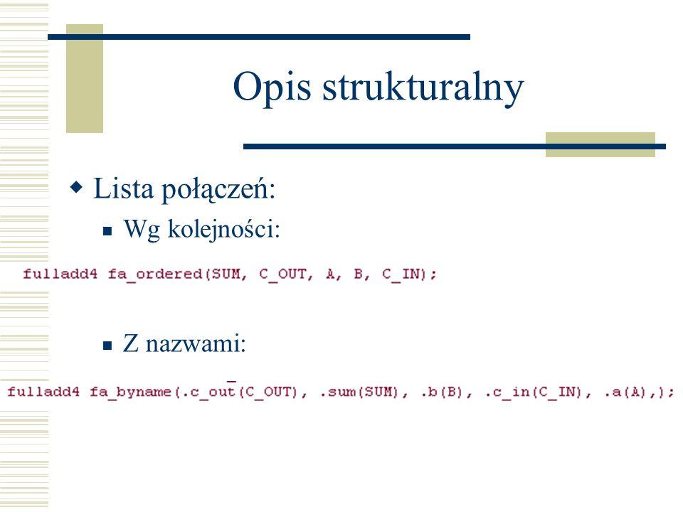 Opis strukturalny Lista połączeń: Wg kolejności: Z nazwami: