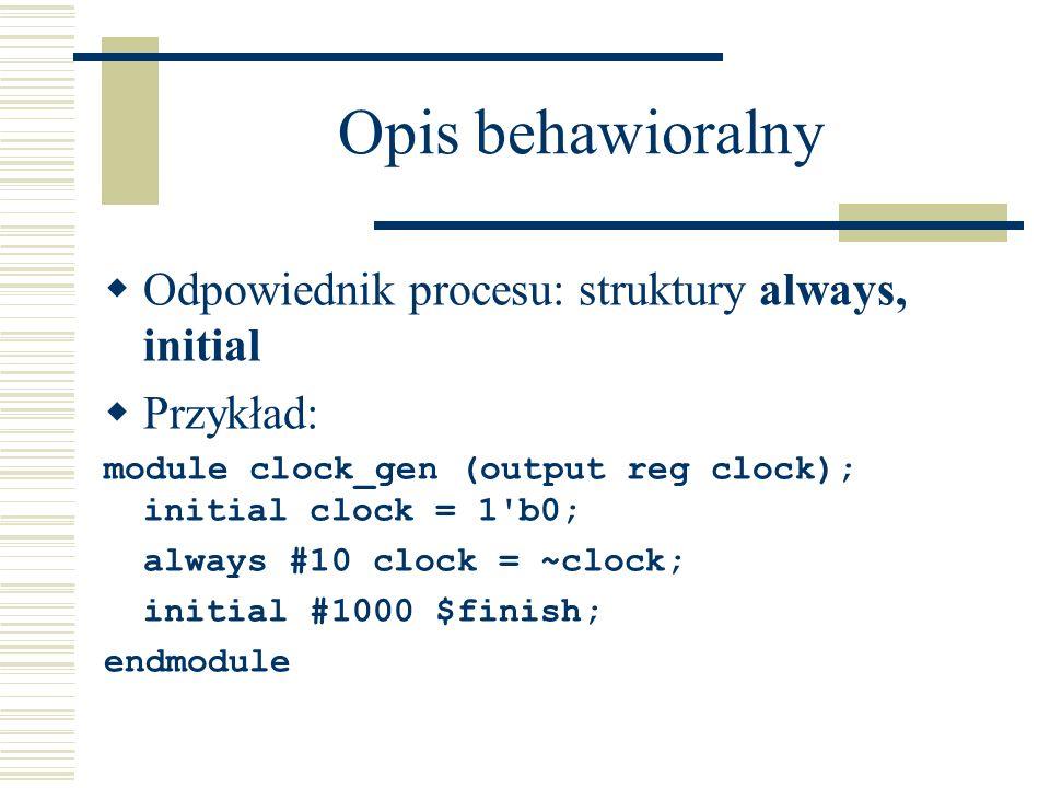 Opis behawioralny Odpowiednik procesu: struktury always, initial