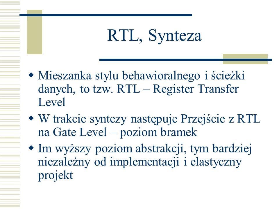 RTL, Synteza Mieszanka stylu behawioralnego i ścieżki danych, to tzw. RTL – Register Transfer Level.