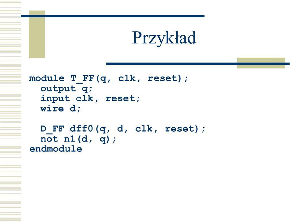 Przykład module T_FF(q, clk, reset); output q; input clk, reset;