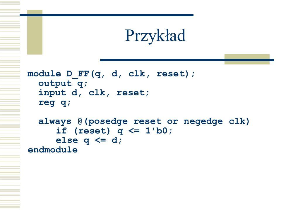 Przykład module D_FF(q, d, clk, reset); output q; input d, clk, reset;