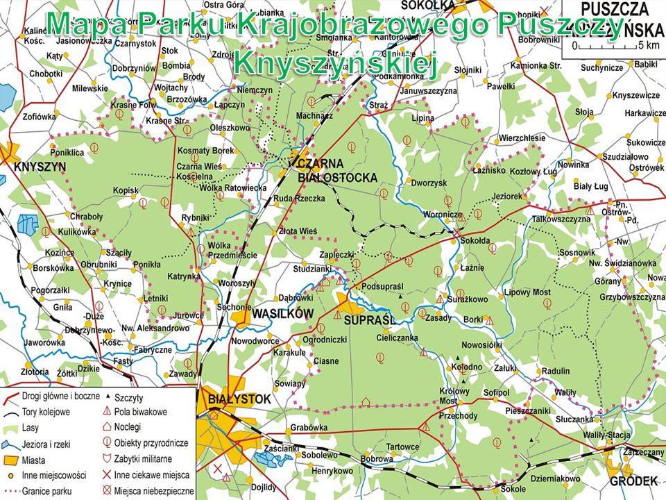 Mapa Parku Krajobrazowego Puszczy Knyszyńskiej