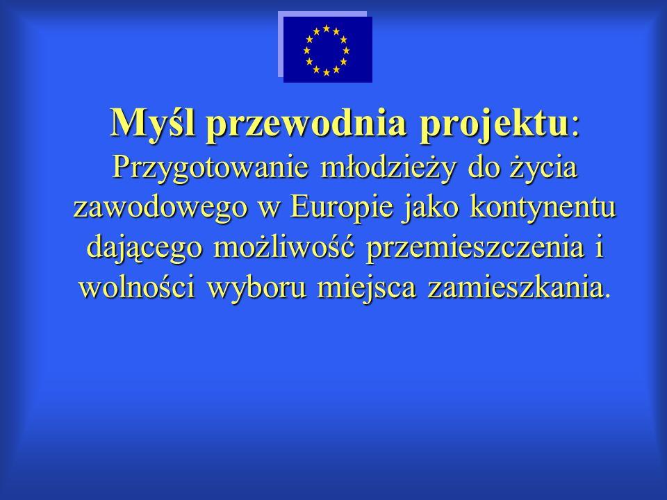 Myśl przewodnia projektu: Przygotowanie młodzieży do życia zawodowego w Europie jako kontynentu dającego możliwość przemieszczenia i wolności wyboru miejsca zamieszkania.