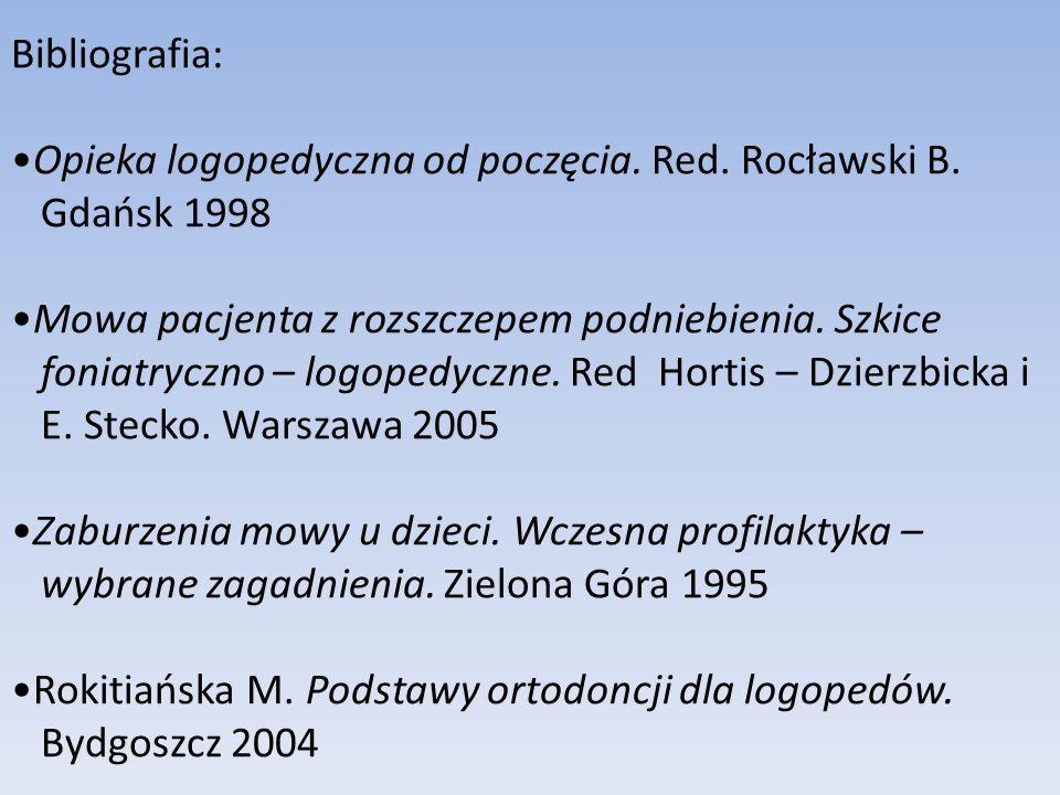 Bibliografia: Opieka logopedyczna od poczęcia. Red. Rocławski B. Gdańsk 1998. Mowa pacjenta z rozszczepem podniebienia. Szkice.