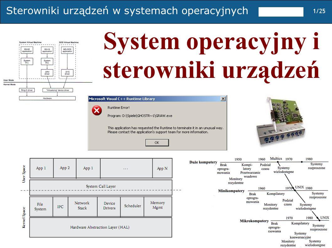 System operacyjny i sterowniki urządzeń