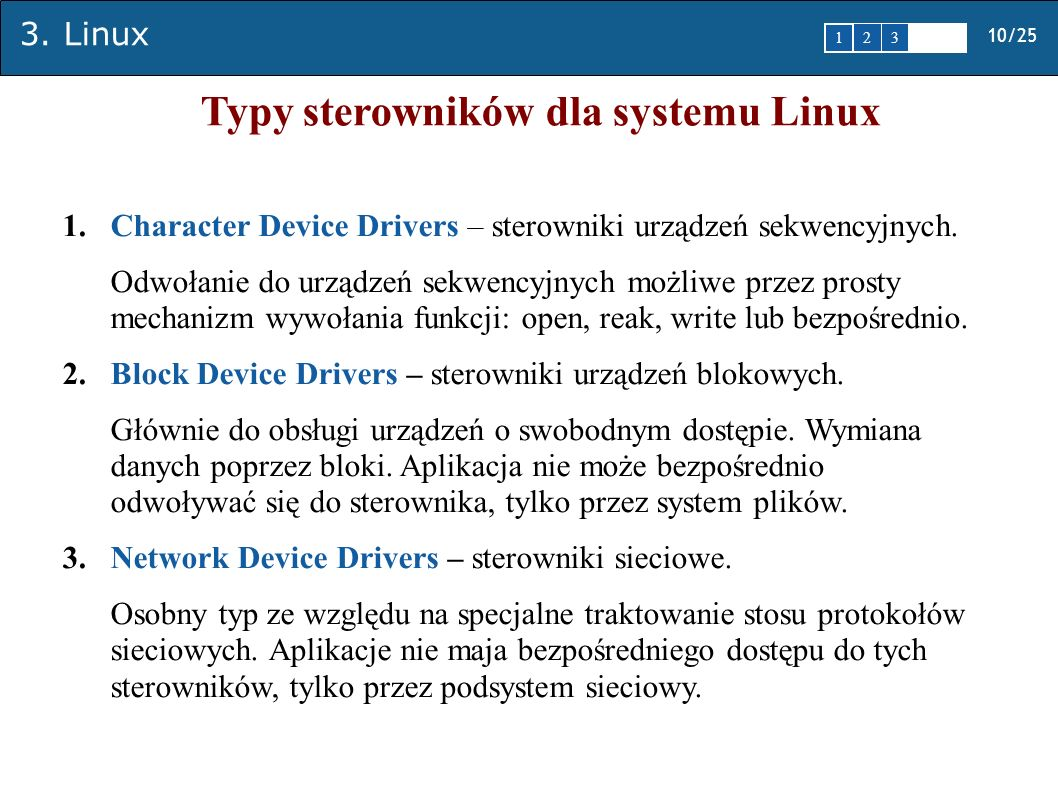 Typy sterowników dla systemu Linux