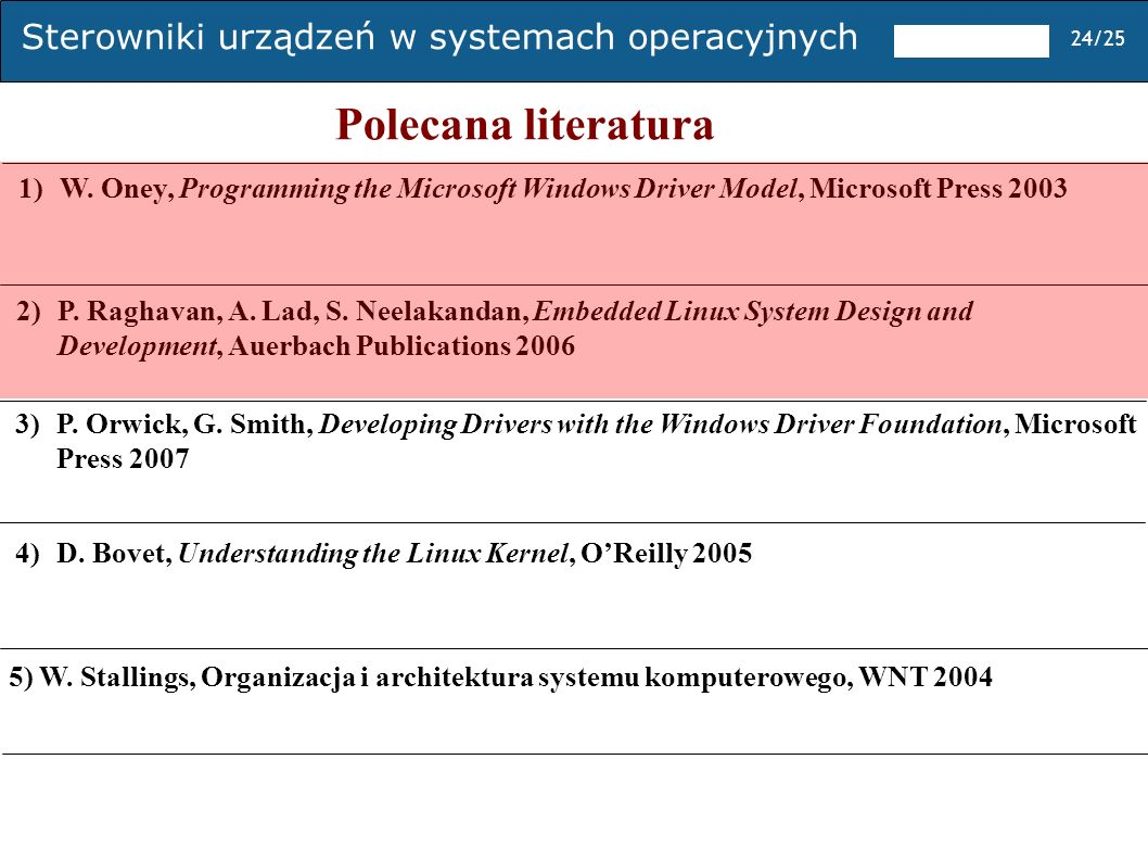 Polecana literatura 1) W. Oney, Programming the Microsoft Windows Driver Model, Microsoft Press