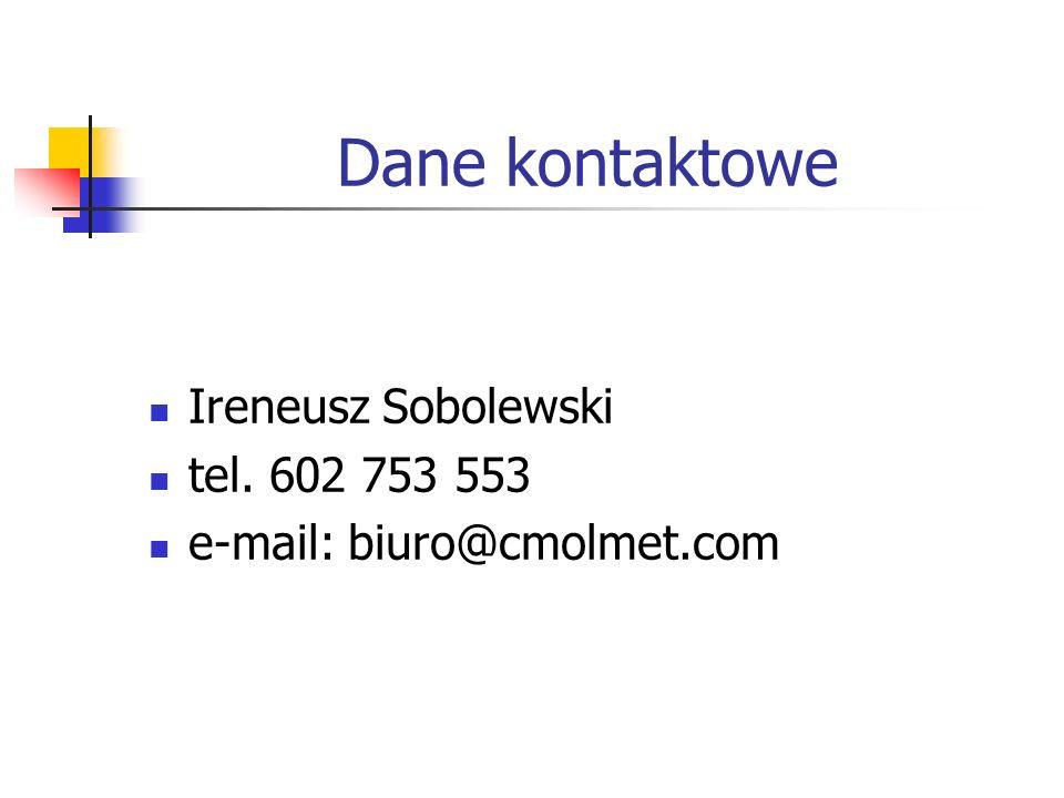 Dane kontaktowe Ireneusz Sobolewski tel. 602 753 553