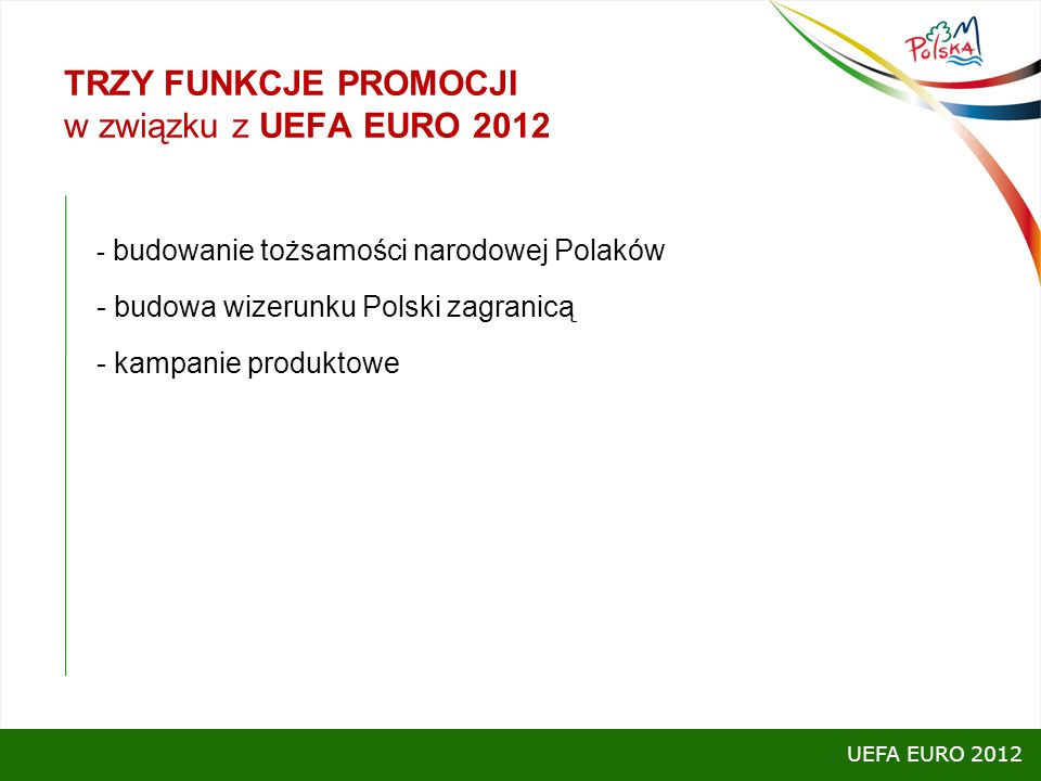 TRZY FUNKCJE PROMOCJI w związku z UEFA EURO 2012