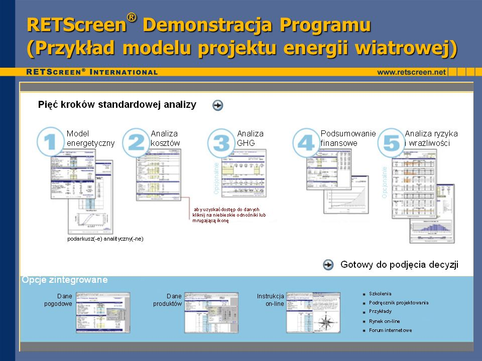 RETScreen® Demonstracja Programu (Przykład modelu projektu energii wiatrowej)