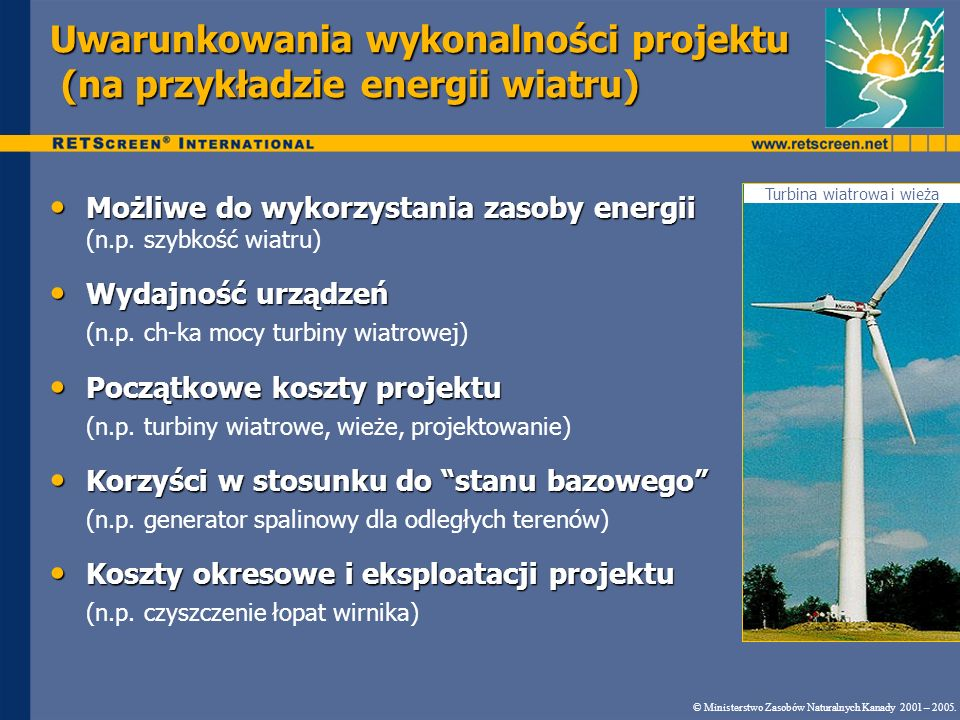 Uwarunkowania wykonalności projektu (na przykładzie energii wiatru)