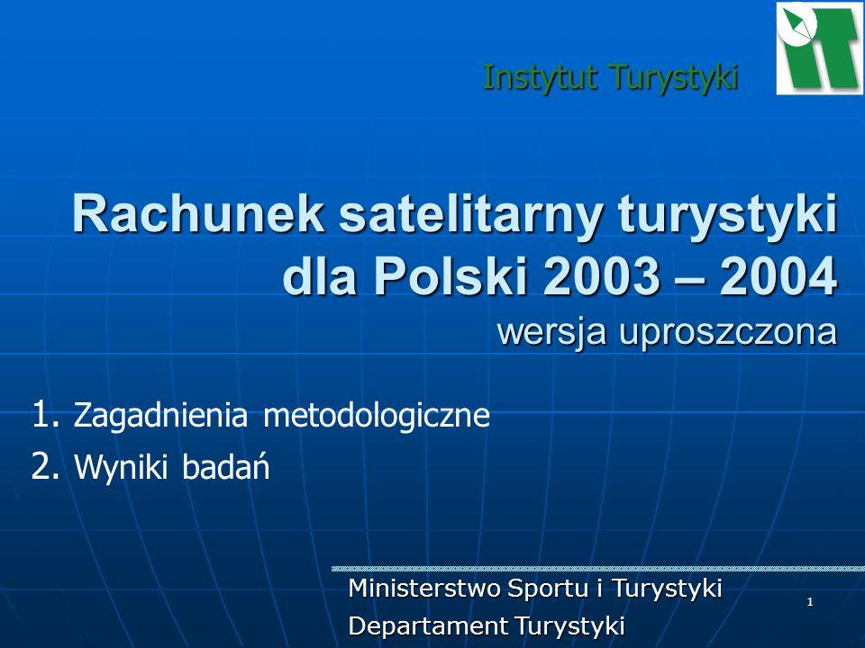 Instytut Turystyki Rachunek satelitarny turystyki dla Polski 2003 – 2004 wersja uproszczona. Zagadnienia metodologiczne.