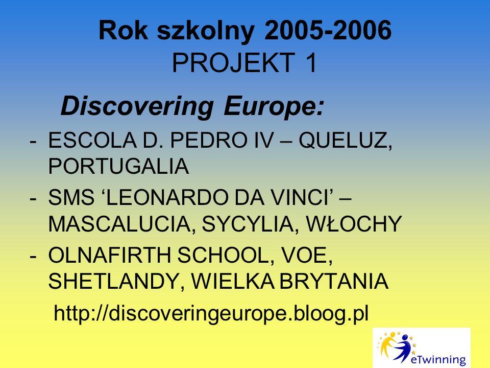 Rok szkolny 2005-2006 PROJEKT 1 Discovering Europe:
