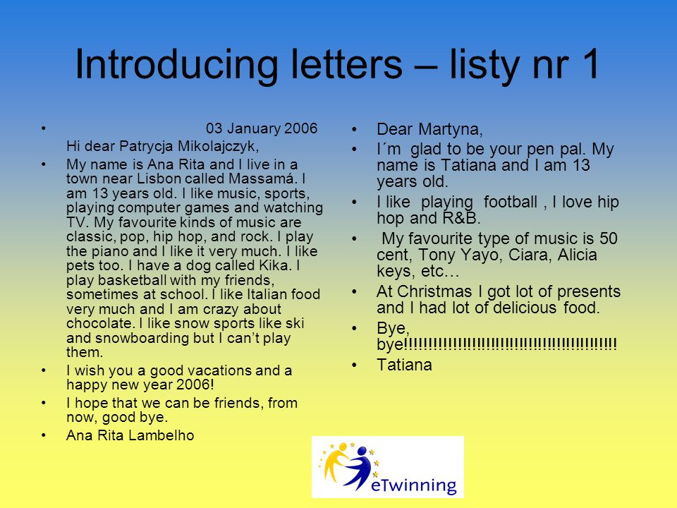 Introducing letters – listy nr 1
