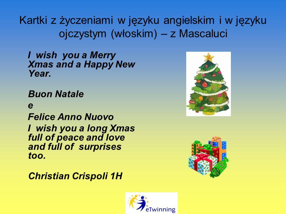 Kartki z życzeniami w języku angielskim i w języku ojczystym (włoskim) – z Mascaluci