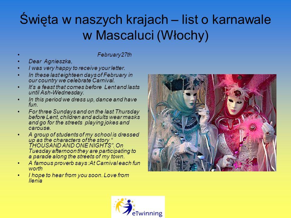 Święta w naszych krajach – list o karnawale w Mascaluci (Włochy)