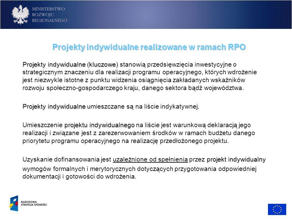 Projekty indywidualne realizowane w ramach RPO