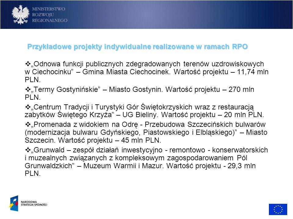 Przykładowe projekty indywidualne realizowane w ramach RPO