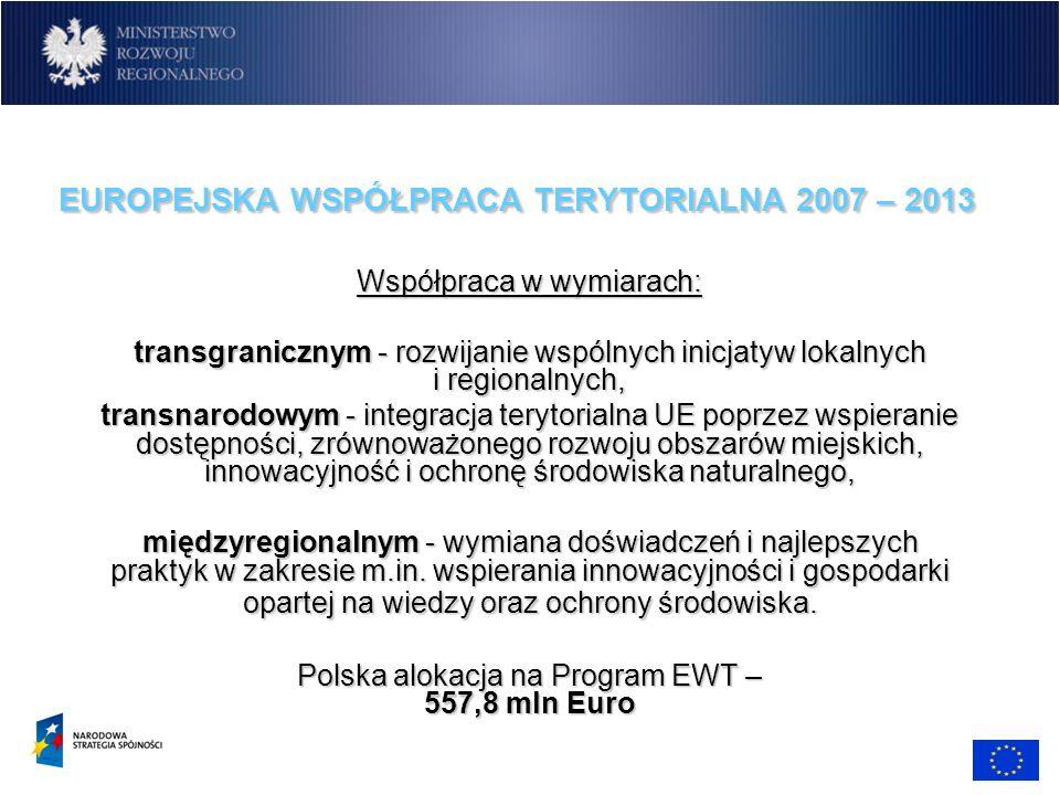 EUROPEJSKA WSPÓŁPRACA TERYTORIALNA 2007 – 2013