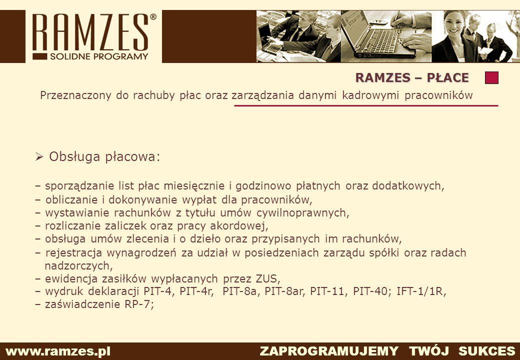Obsługa płacowa: RAMZES – PŁACE