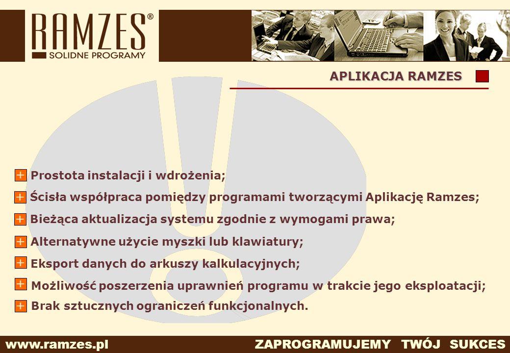 APLIKACJA RAMZES + Prostota instalacji i wdrożenia;