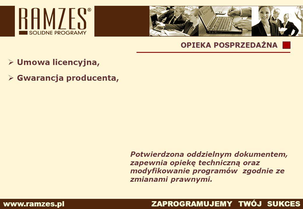 Umowa licencyjna, Gwarancja producenta, OPIEKA POSPRZEDAŻNA