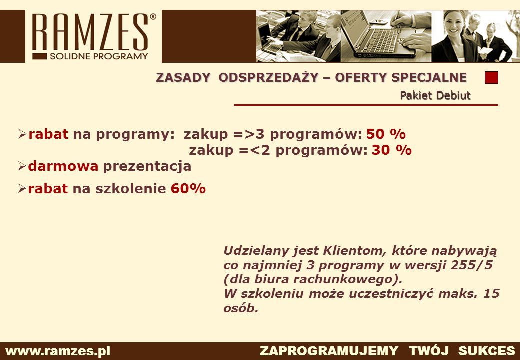rabat na programy: zakup =>3 programów: 50 %