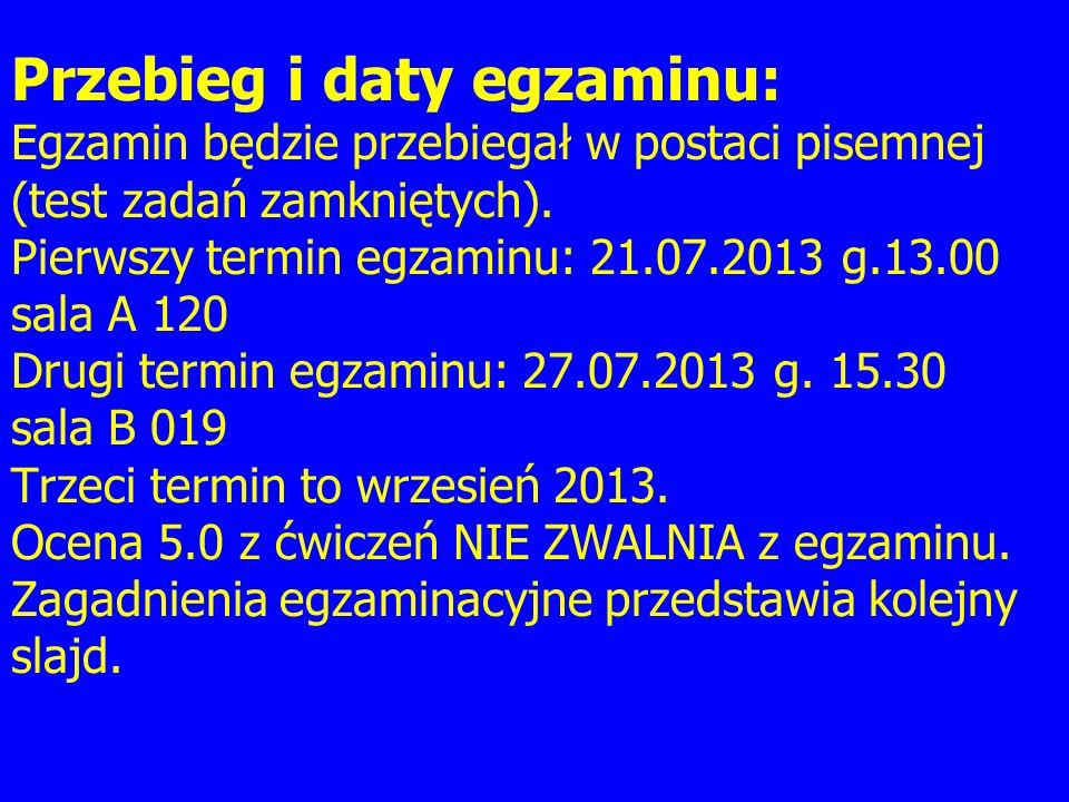 Przebieg i daty egzaminu: Egzamin będzie przebiegał w postaci pisemnej (test zadań zamkniętych).