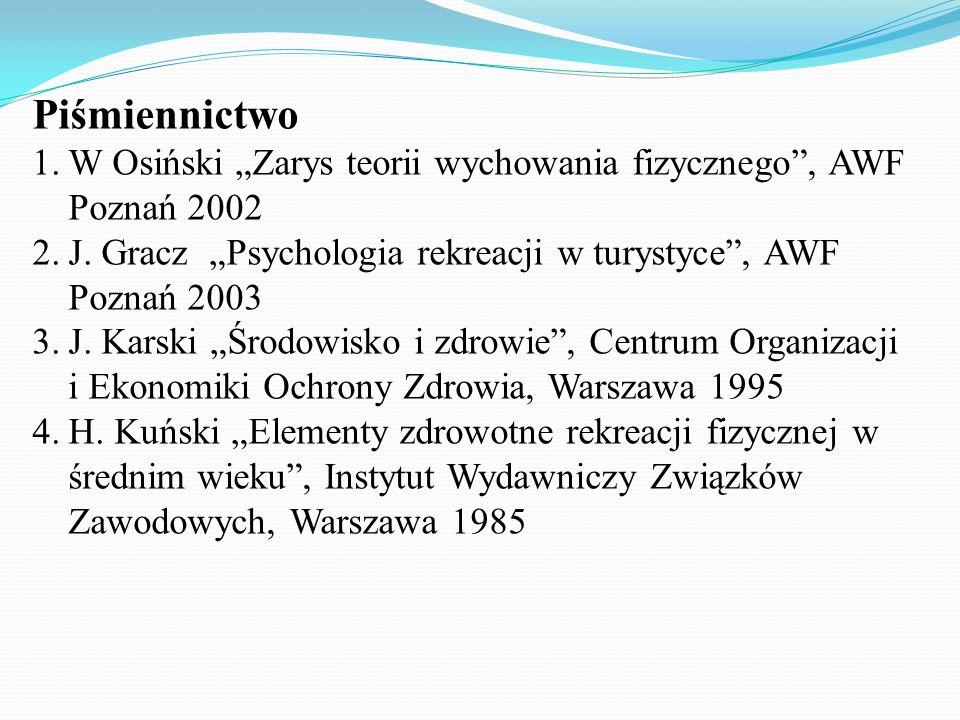 """Piśmiennictwo W Osiński """"Zarys teorii wychowania fizycznego , AWF Poznań 2002. J. Gracz """"Psychologia rekreacji w turystyce , AWF Poznań 2003."""