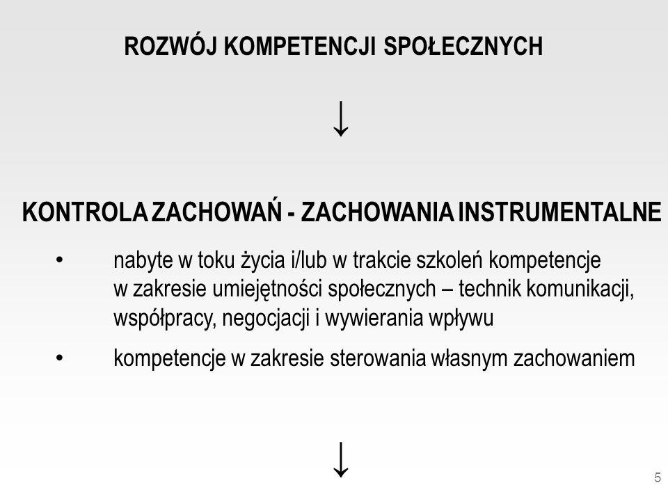 ↓ KONTROLA ZACHOWAŃ - ZACHOWANIA INSTRUMENTALNE