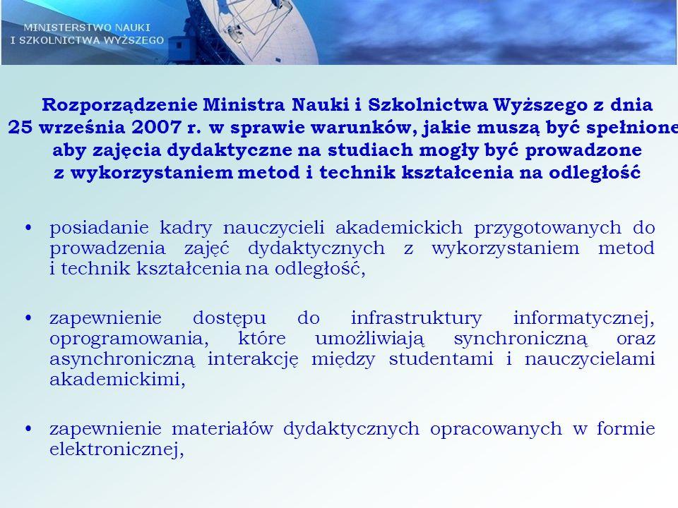 Rozporządzenie Ministra Nauki i Szkolnictwa Wyższego z dnia 25 września 2007 r. w sprawie warunków, jakie muszą być spełnione, aby zajęcia dydaktyczne na studiach mogły być prowadzone z wykorzystaniem metod i technik kształcenia na odległość