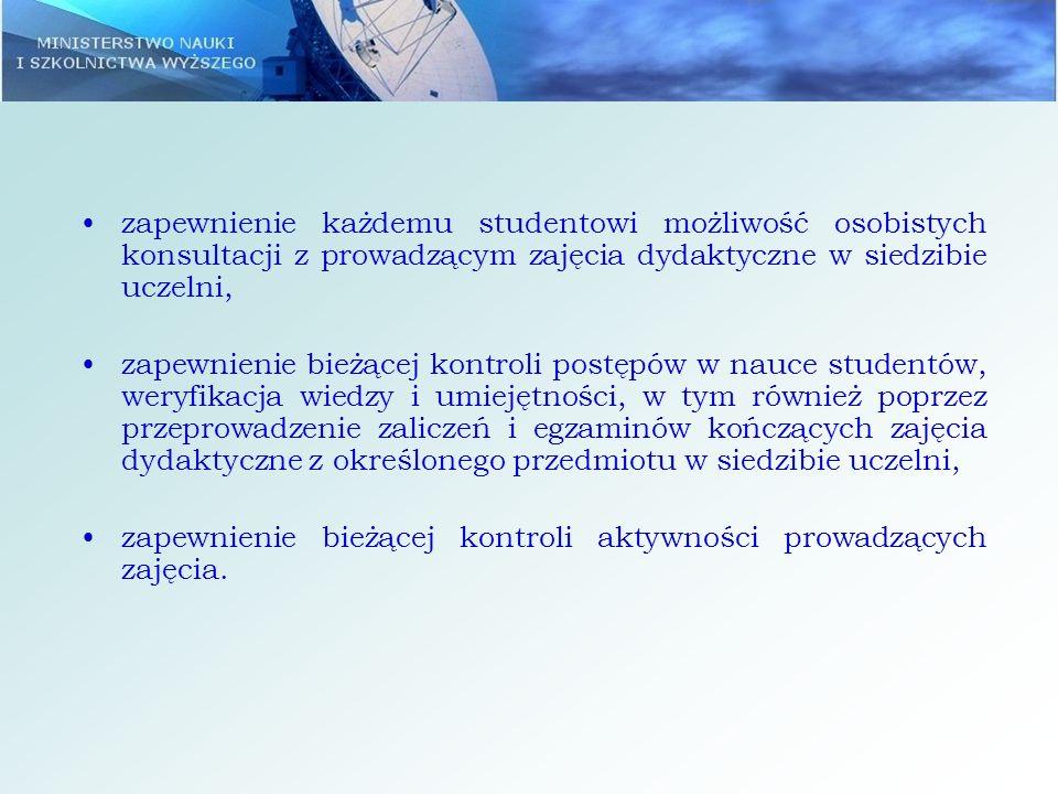 zapewnienie każdemu studentowi możliwość osobistych konsultacji z prowadzącym zajęcia dydaktyczne w siedzibie uczelni,
