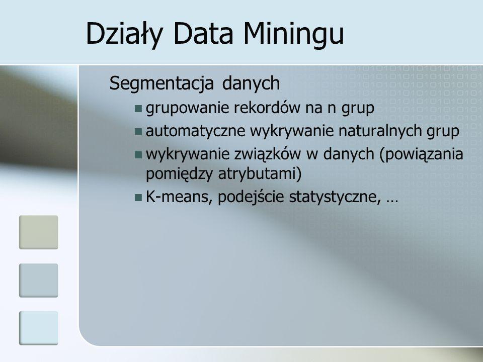 Działy Data Miningu Segmentacja danych grupowanie rekordów na n grup