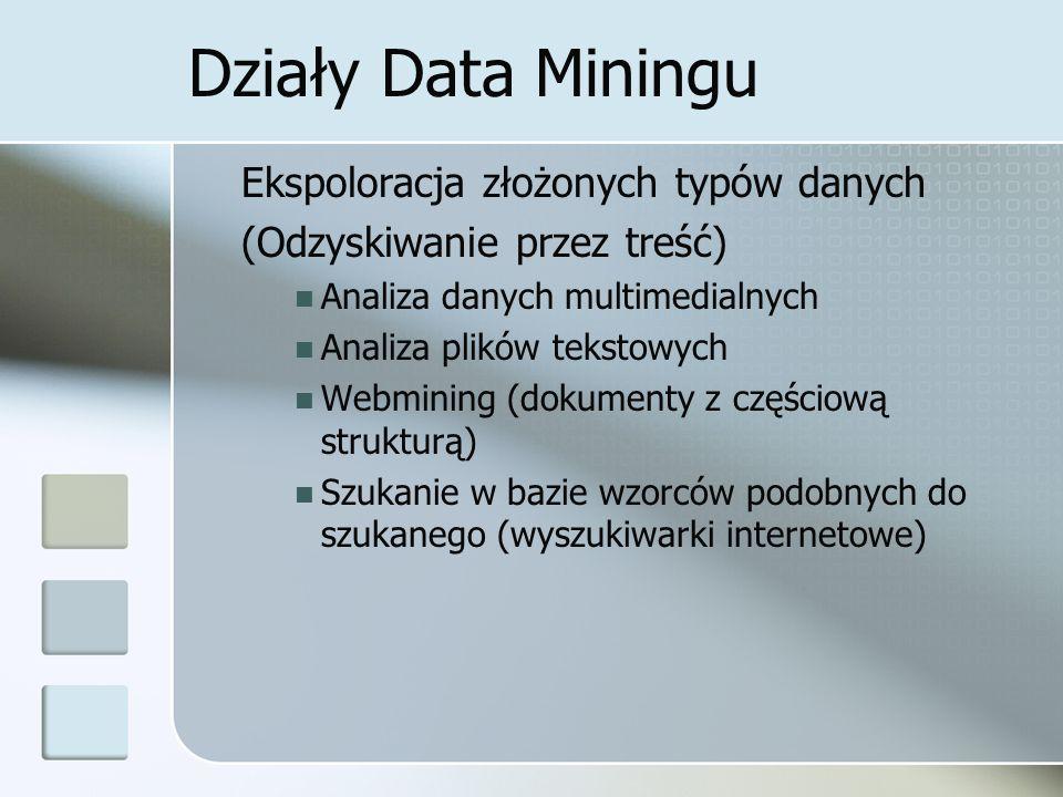 Działy Data Miningu Ekspoloracja złożonych typów danych