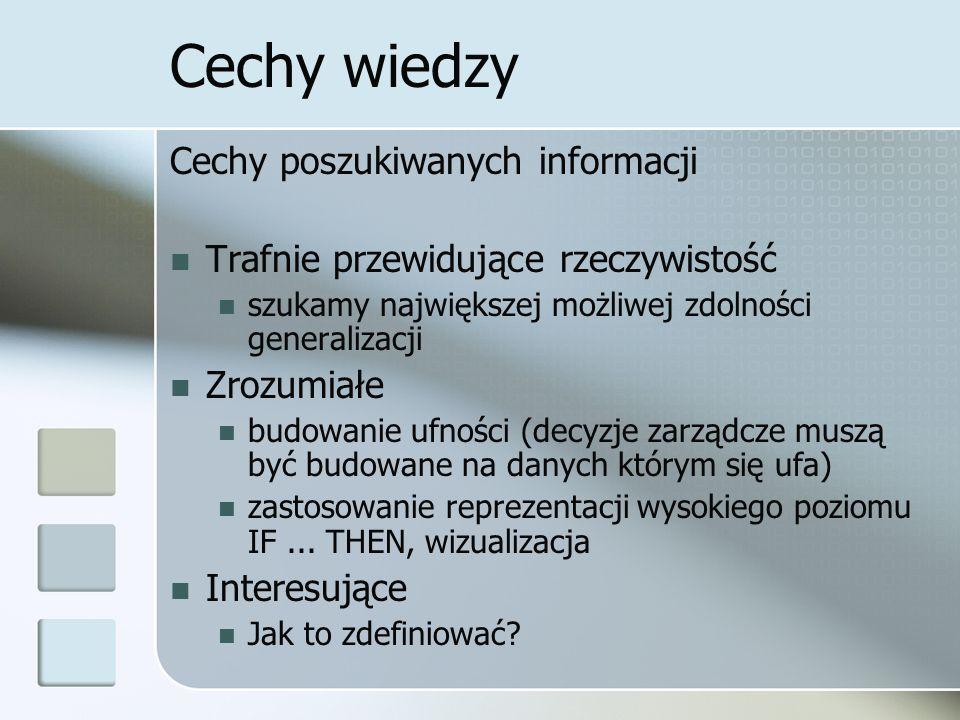 Cechy wiedzy Cechy poszukiwanych informacji
