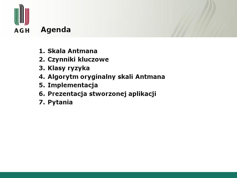 Agenda Skala Antmana Czynniki kluczowe Klasy ryzyka