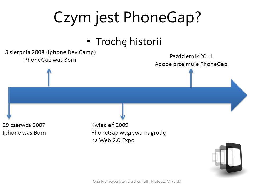 Czym jest PhoneGap Trochę historii 8 sierpnia 2008 (Iphone Dev Camp)