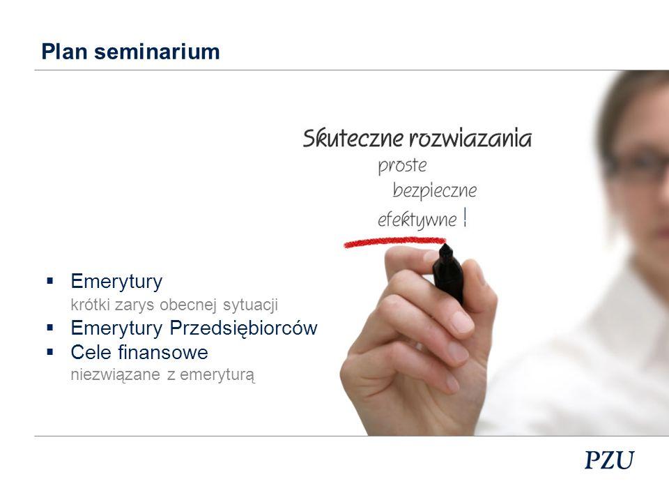 Plan seminarium Emerytury Emerytury Przedsiębiorców Cele finansowe