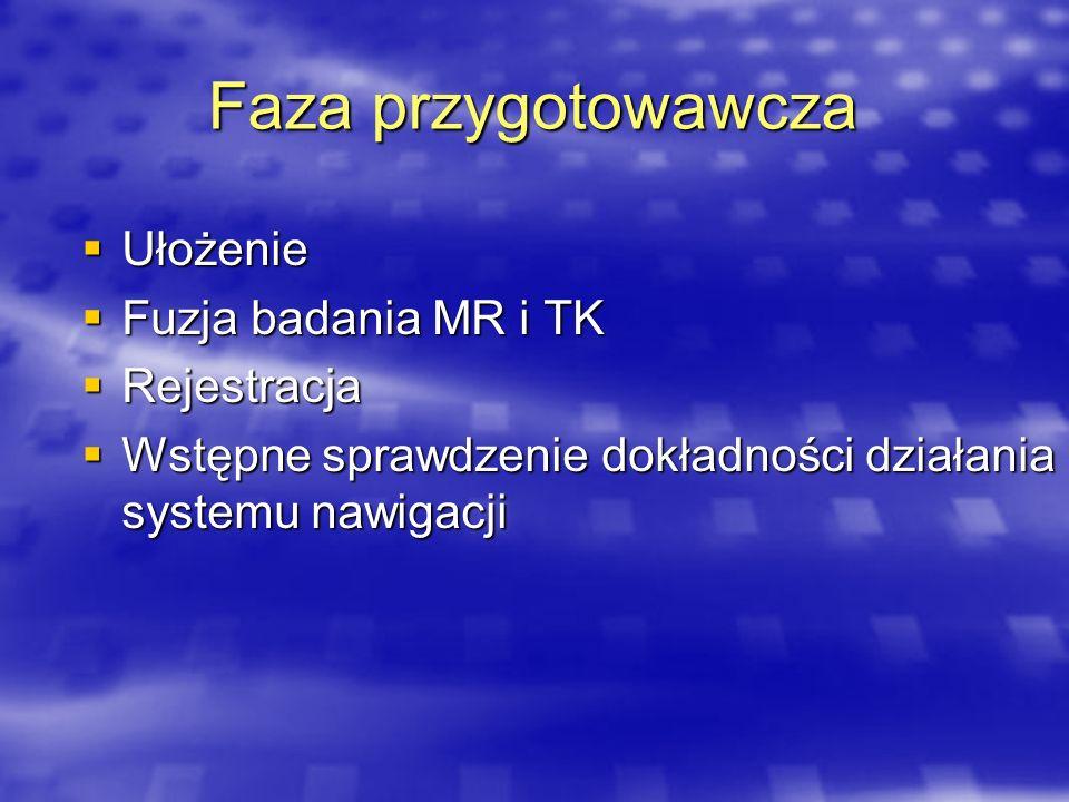 Faza przygotowawcza Ułożenie Fuzja badania MR i TK Rejestracja
