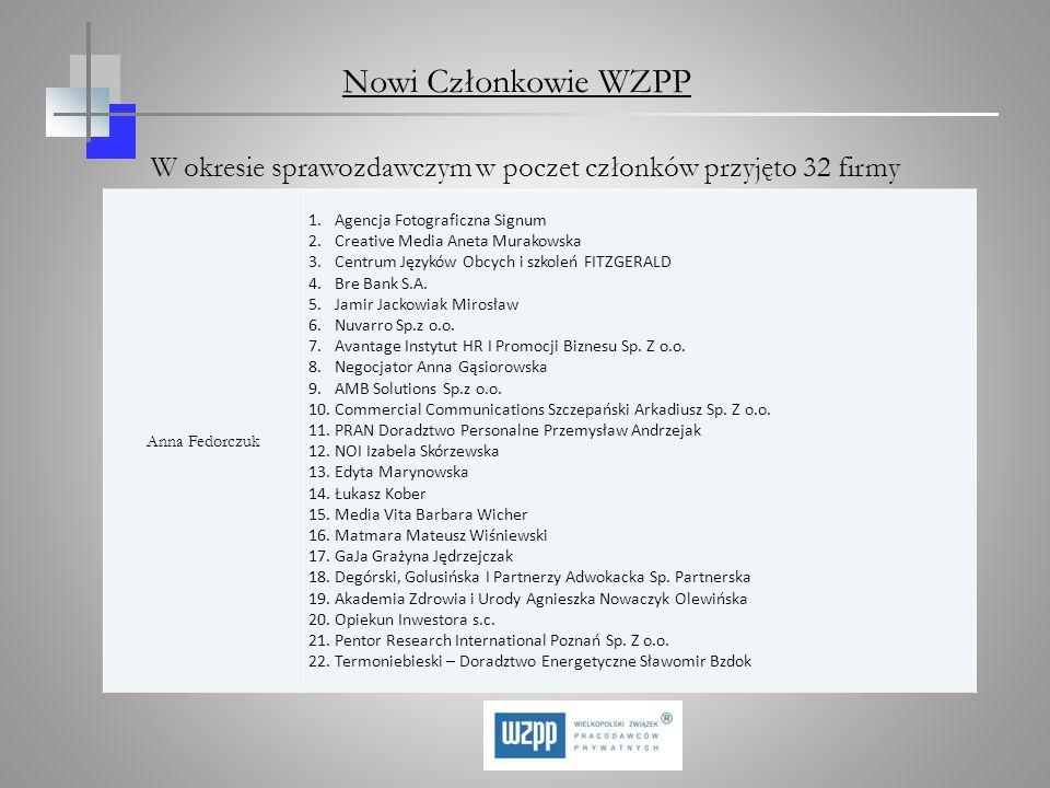 W okresie sprawozdawczym w poczet członków przyjęto 32 firmy