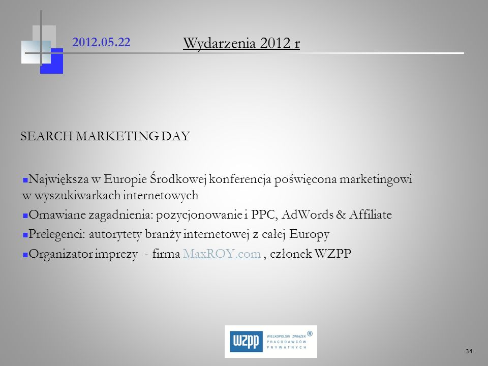 Wydarzenia 2012 r SEARCH MARKETING DAY