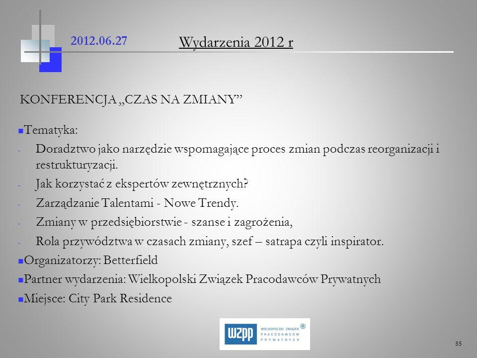 """Wydarzenia 2012 r 2012.06.27 KONFERENCJA """"CZAS NA ZMIANY Tematyka:"""
