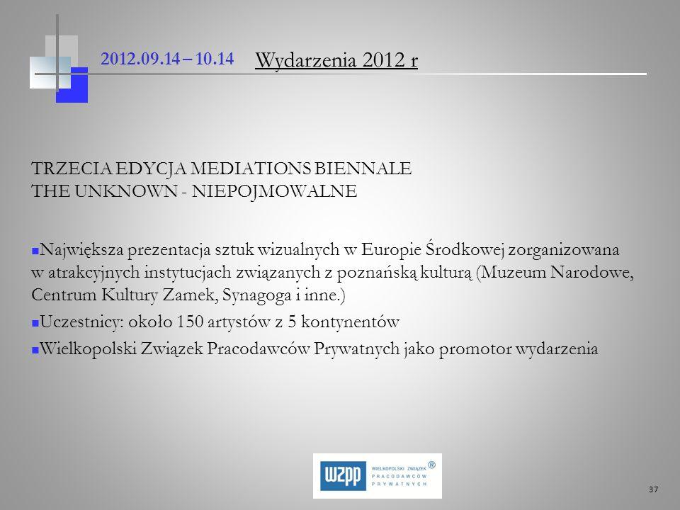 2012.09.14 – 10.14 Wydarzenia 2012 r. TRZECIA EDYCJA MEDIATIONS BIENNALE THE UNKNOWN - NIEPOJMOWALNE.