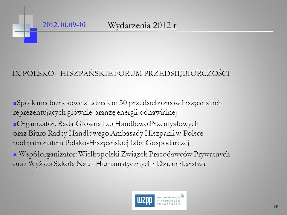 2012.10.09-10 Wydarzenia 2012 r. IX POLSKO - HISZPAŃSKIE FORUM PRZEDSIĘBIORCZOŚCI.