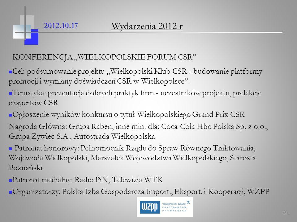 """Wydarzenia 2012 r 2012.10.17 KONFERENCJA """"WIELKOPOLSKIE FORUM CSR"""