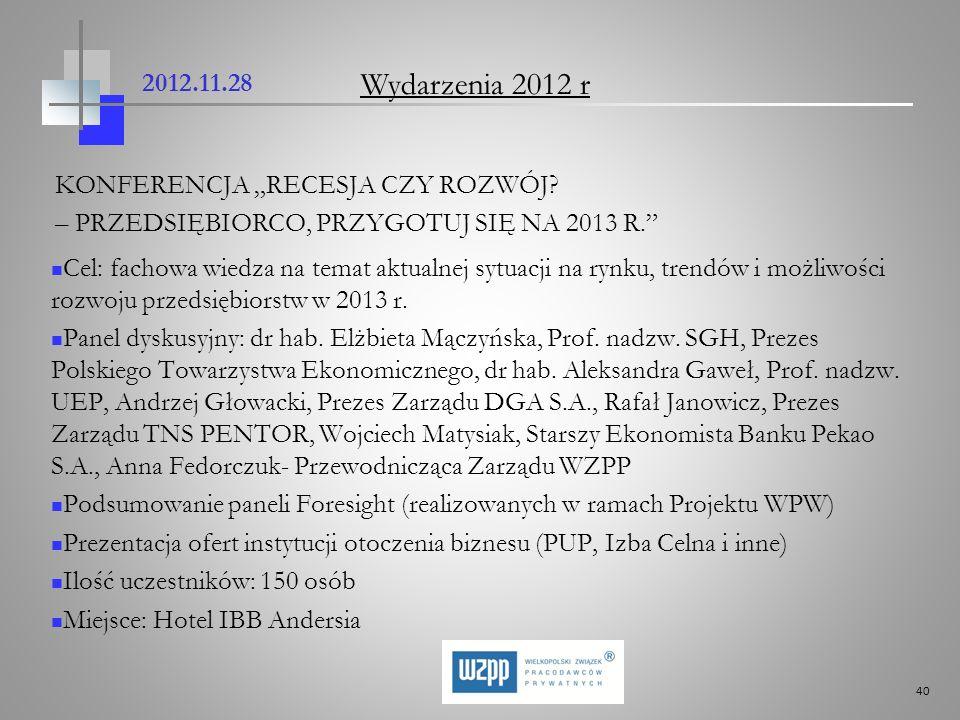 """Wydarzenia 2012 r 2012.11.28 KONFERENCJA """"RECESJA CZY ROZWÓJ"""