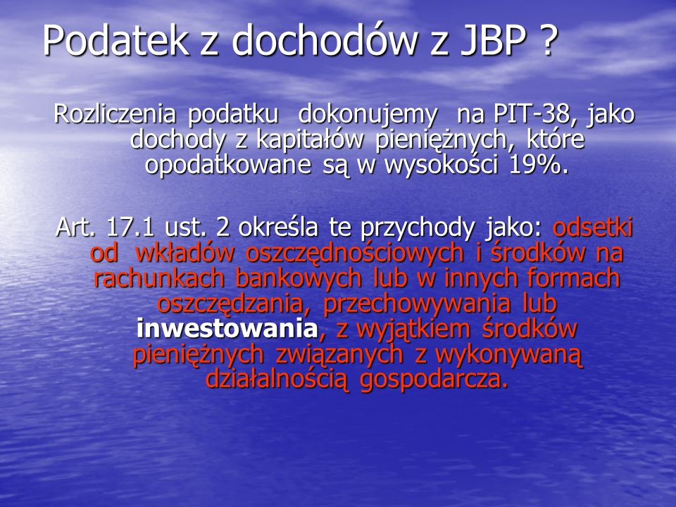 Podatek z dochodów z JBP