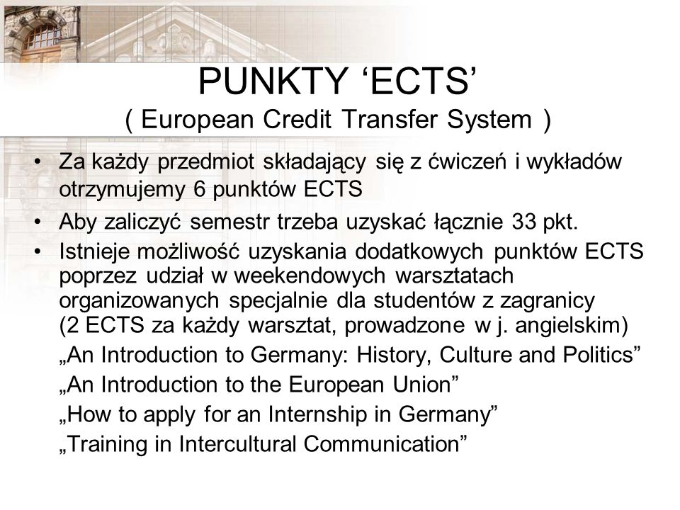 PUNKTY 'ECTS' ( European Credit Transfer System )