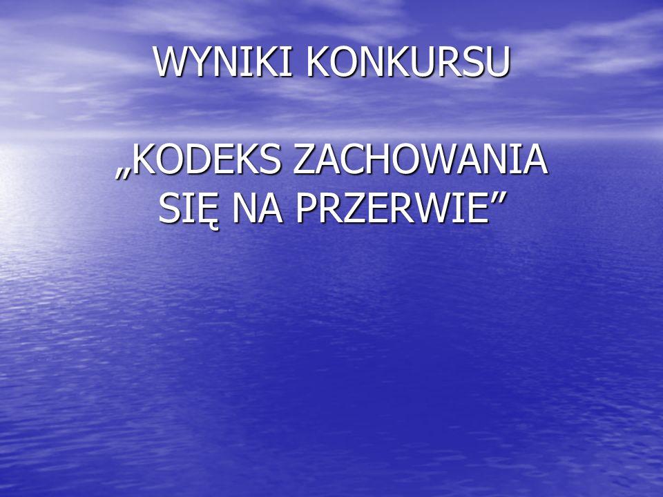 """WYNIKI KONKURSU """"KODEKS ZACHOWANIA SIĘ NA PRZERWIE"""